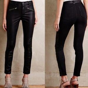 Anthropologie Pilcro black Leather Moto Pants 29